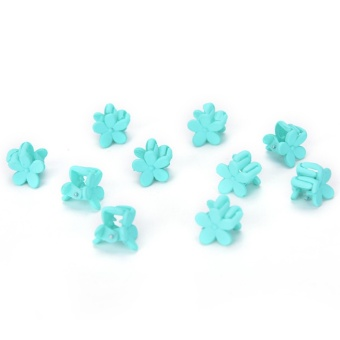 10PCS Hairpin Small Flowers Gripper Children Hair Clip Bangs Hair Accessories Mint Green - intl