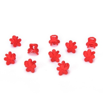 10PCS Hairpin Small Flowers Gripper Children Hair Clip Bangs Hair Accessories Red - intl