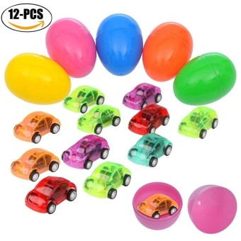 12Pcs Toy cars Plastic Funny Mini Car Toys Assorted Toy Cars Toy Model Cars with 12Pcs Egg Cans - intl