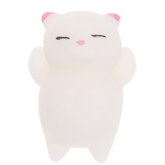 1pc Squishy Cat Pattern Cute Mini Squeeze Stretchy Animal Stress Relief Toy(White) - intl