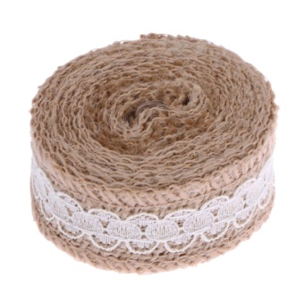 2m Jute Burlap Hessian Lace Ribbon Christmas Vintage Wedding Decoration(Khaki) - intl