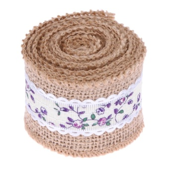 2m Jute Burlap Hessian Lace Ribbon Christmas Vintage Wedding Decor(Purple) - intl