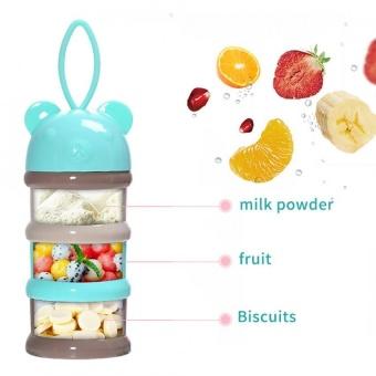3 Layers Portable Infant Baby Milk Powder Formula Dispenser Storage Box Feeding Container Blue - intl
