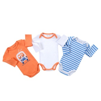 3pcs Newborn Romper Infant Long Sleeve Jumpsuits Boys Girl Spring Autumn Clothes Princess Wear Baby Romper - intl