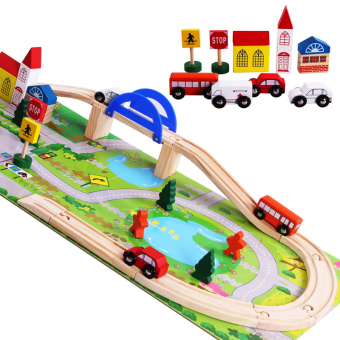Harga 40ps city track building blocks puzzle sliding car puzzle