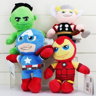 4pcs Plush Toys 20cm Hulk Thor Captain America Ironman Stuffed Plush Toys Stuffed Soft Dolls Great Gift - intl
