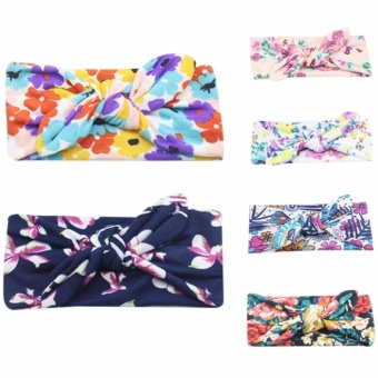 6pcs Baby Girls Rabbit Ears Elastic Hair Bands Flowers Bowknot Headband - intl