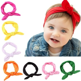 7 Pcs Baby Girl Newest Turban Headband Head Wrap Knotted Hair Band - intl