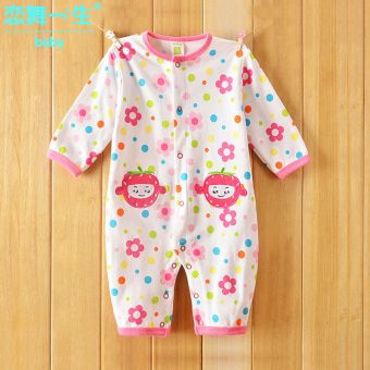 Baby Siamese baby spring and summer long-sleeved leotard climbing clothes