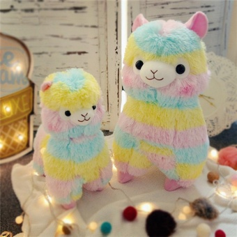 Cute rainbow alpaca Dolls girls cloth doll birthday gift animal mud horse Japanese doll strips coloeful Plush Toys ( 18cm ) - intl