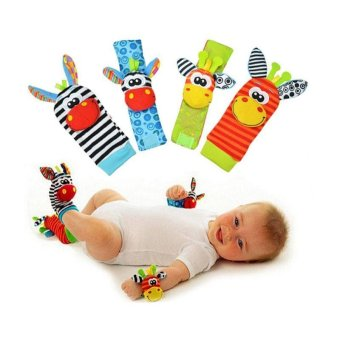 Harga 4 pcs/lot (4 pcs=2 pcs waist+2 pcs socks), Baby Rattle Toys Sozzy Wrist Rattle and Foot Socks Protect Baby and For Fun 11-169 - intl