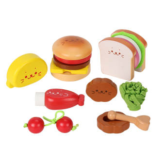 Harga Wooden simulation burger cooking suit fries child over every family toys early childhood kitchen Kitchen toys building blocks