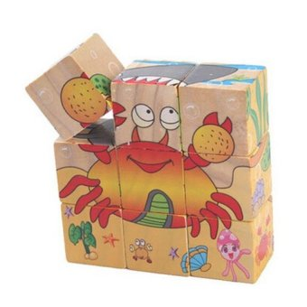 Harga FC Simple Wood Building Blocks Marine Animals World Pack Of 9 - intl