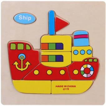 Harga MOON STORE Children puzzle Traffic Wooden Jigsaw Puzzle Toys Ship - intl