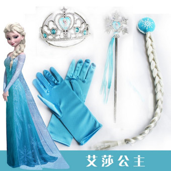 Harga Hair accessories frozen princess elsa anna with magic wand crown wig gloves suit children's head ornaments