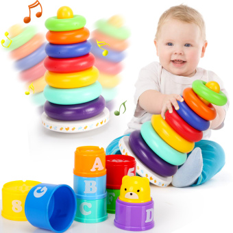 Harga Child baby toy stacker for six months to a high piles of piles circle rainbow tower tumbler toy