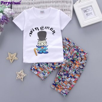 Harga 2017 Brand New Baby Boys Summer Cotton Clothes Set Child Summer Top T-Shirt +Pants Set Boys Printing Cotton Short Pants for 1-3Years Old Boys - intl