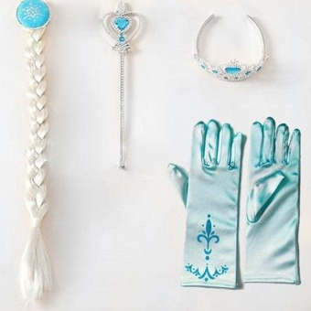 Harga Kids 4Pcs/set Elsa Anna Cosplay Frozen Magic Wand Gloves Dress Costume - intl