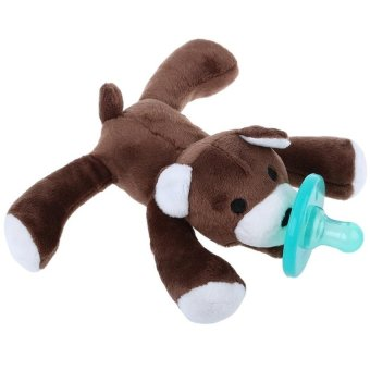 Harga Cute Infant Animal Silicone Wubbanub Cuddly Soft Plush Toy(Deepbrown) - intl