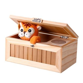 Harga Wooden Useless Box Leave Me Alone Box Most Useless Machine Don't Touch Tiger Toy Gift with Sound - intl