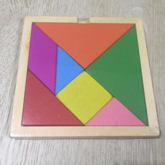 Mini 7 Piece Children Educational Toy Colorful Wooden Brain Training Geometry Tangram Puzzle
