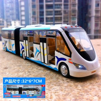 Harga Simulation alloy big bus tourist bus double layer bus car model sound and light pull back car toys for children
