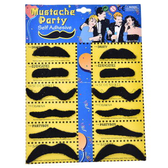 Harga 12pcs Stylish Party Costume Fancy Cosplay Fake Mustache Moustache Halloween DIY - intl