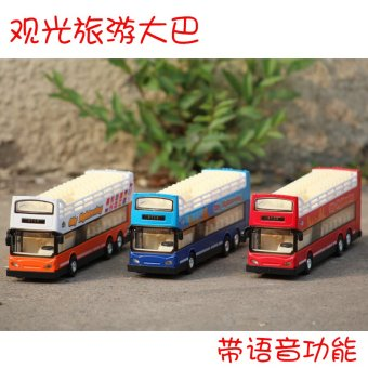 Harga Diya double-decker bus model alloy car model tourist bus live voice children toy car