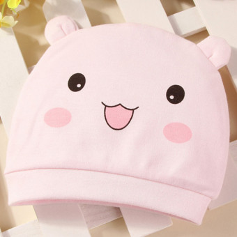Harga Newborn Baby Hat Pure cotton Infant Cap New Born Clothing & Accessories Bear pattern Pink