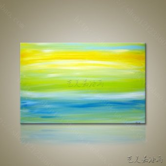 Harga Zao abstract painting decorative painting frame painting abstract modern minimalist modern abstract painting fresh green yellow
