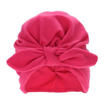 Baby Soft Cotton Knot Rabbit Ears Stretchable Cap Beanie (Rose Red) - intl
