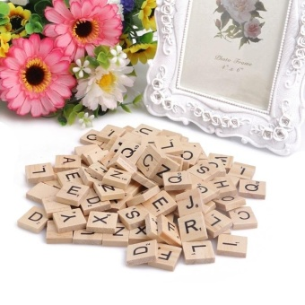 Harga 100 Wooden Alphabet Scrabble Tiles Black Letters & Numbers For Crafts Wood Mer - intl