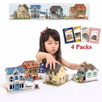 Harga 4 Packs-Cubic Fun Miniature 3D Paper Puzzle Kids Gifts Kits Toy-3D World Style France - intl