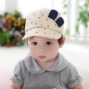 Baby Boy Girl Infant Newborn Lovely Smile Face Cute Hats Spring Cotton Caps - intl