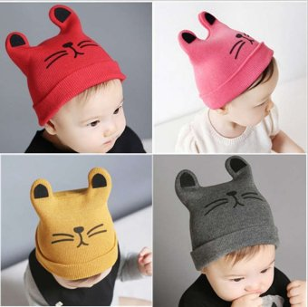 Marvogo Newest Autumn and Winter Newborn Baby Hat Kids Warm Hat Soft Cap Sleep Fetal hat hedging hat-red - intl