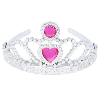 Harga Multicolor diamond children crown plastic circle heart diamond silver crown princess crown girls princess accessories