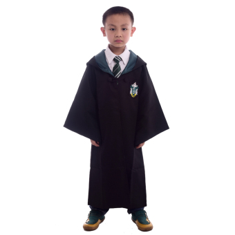 Children Harry Potter Costume Magic Robe Cloaks Robes Cosplay Size-M(Slytherin)