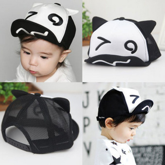 Harga Haotom Summer Style Baby Hat infant Caps Letter Children Baseball Caps Boys & Girls Peaked Hats Sun Hats (3-24months)Black and white eyes (Intl)