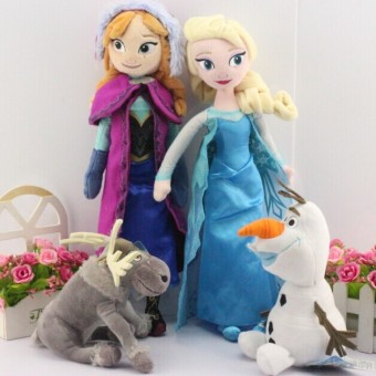 Harga 4pcs/lot 40CM Elsa Anna Olaf Sven Milu Plush Toy Princess Stuffed Doll Brinquedos