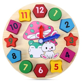 Harga Educational Toy with Cartoon Pattern Digital Blocks Clock for Baby - intl
