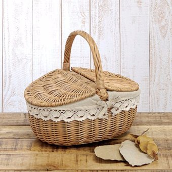 Harga Up to 10KG Wicker Hand Picnic Storage Basket Shopping Hamper With Lid and Handle - intl
