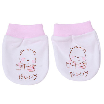 Harga Hang-Qiao 1 Pair Cartoon Baby Gloves (White/Pink)
