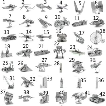 Harga (Style 24) MINI 3D Metal Puzzles for children Model kids Toys Metal stainless steel DIY assembly model 3D three-dimensional jigsaw puzzle - intl