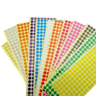 Harga 12 Sheets Assorted Color Removable Color Coding Labels Round Dot Stickers for Crafts Making Notes Marks Playing Games 2304 Dots In Total - intl