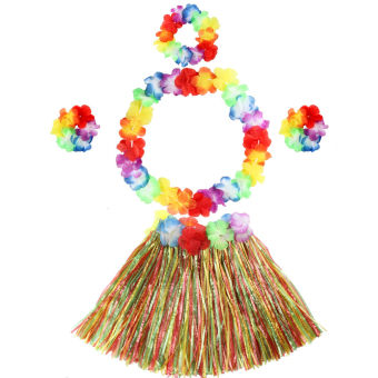 5pcs Kids Hawaiian Grass Hula Lei Skirt Flower Fancy Costume Set Holloween Beach