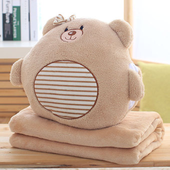 Dual hand warmer pillow blanket three one coral velvet blanket pillow quilt chinchillas doll blanket cushion air conditioning blanket
