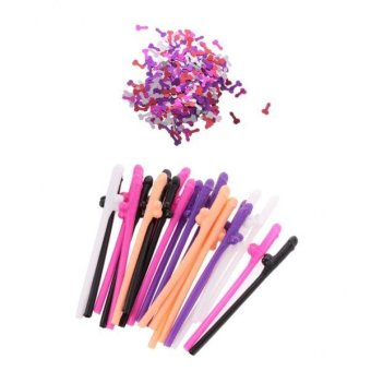 Harga MagiDeal Colorful Confetti & 20pcs Dicky Willy Sipping Drinking Straws for Hen Party
