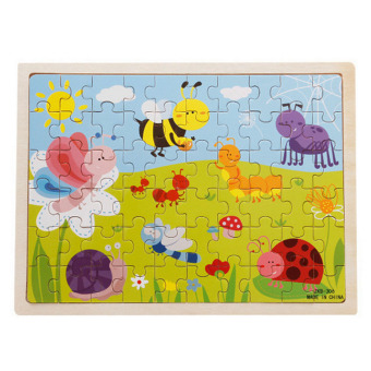 360WISH 60-Piece Insects Wooden Jigsaw Puzzle Baby Kids Children Educational Toy
