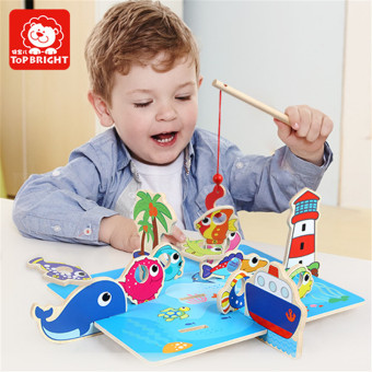 Harga Fun Wooden 3D Fishing Toys Brand Top bright For Baby Kids Toy Gift Educational Soft Montessori children intelligent - intl