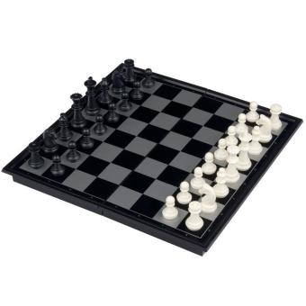 leegoal UB 9.75inch Travel Magnetic Chess, Checkers And Backgammon Set(BlackWhite) - intl